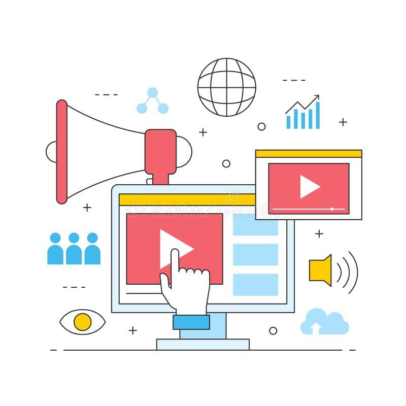 录影营销网上多媒体商务广告 库存例证