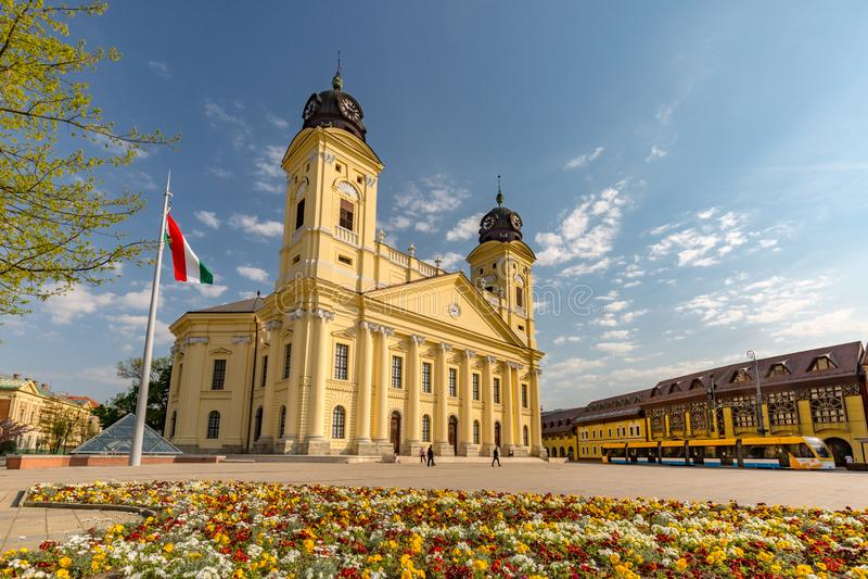 04 12 2017 - 德布勒森,匈牙利,市中心的看法,美好的城市风景 库存照片