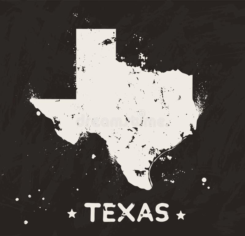 得克萨斯在黑背景的难看的东西地图 皇族释放例证