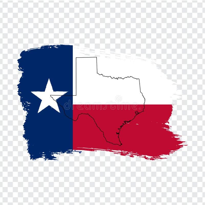 得克萨斯旗子从刷子冲程和空白的地图得克萨斯的 美国状态团结了 得克萨斯优质地图和旗子transparen 库存例证