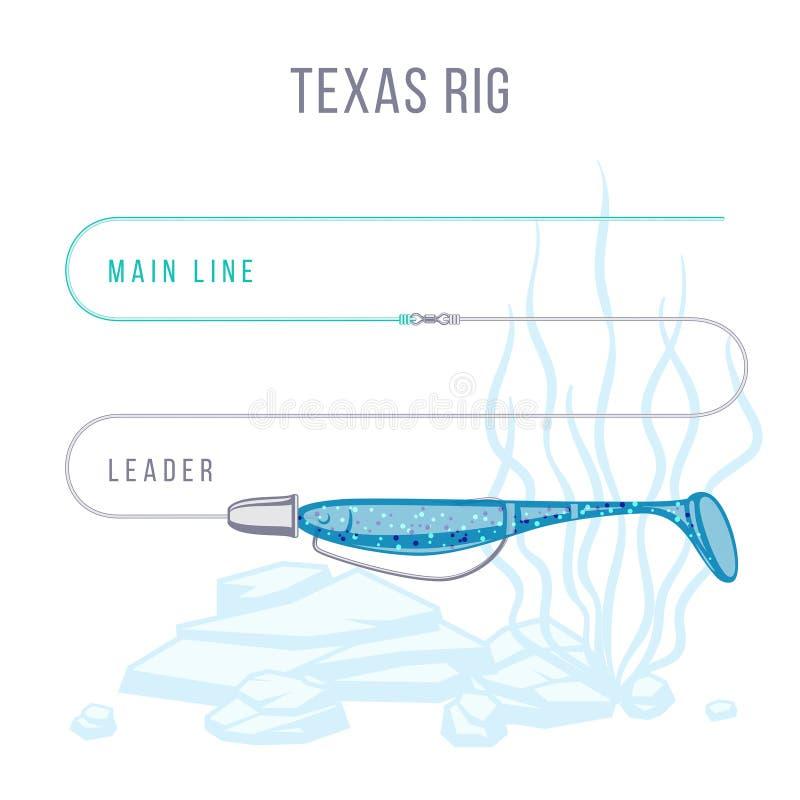 得克萨斯装配了钓鱼低音的排序塑料诱饵设定 向量例证