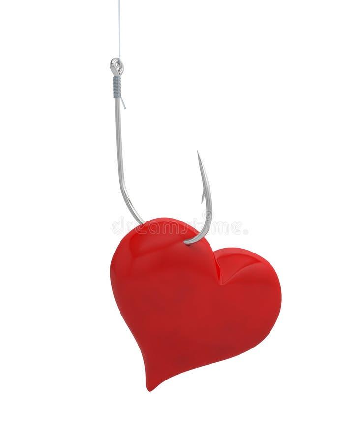心脏勾子钓鱼鱼钩 向量例证