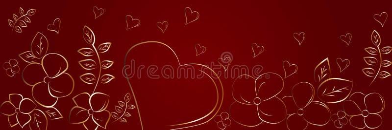 心脏和花剪影在红色背景 美好的抽象全景背景 皇族释放例证