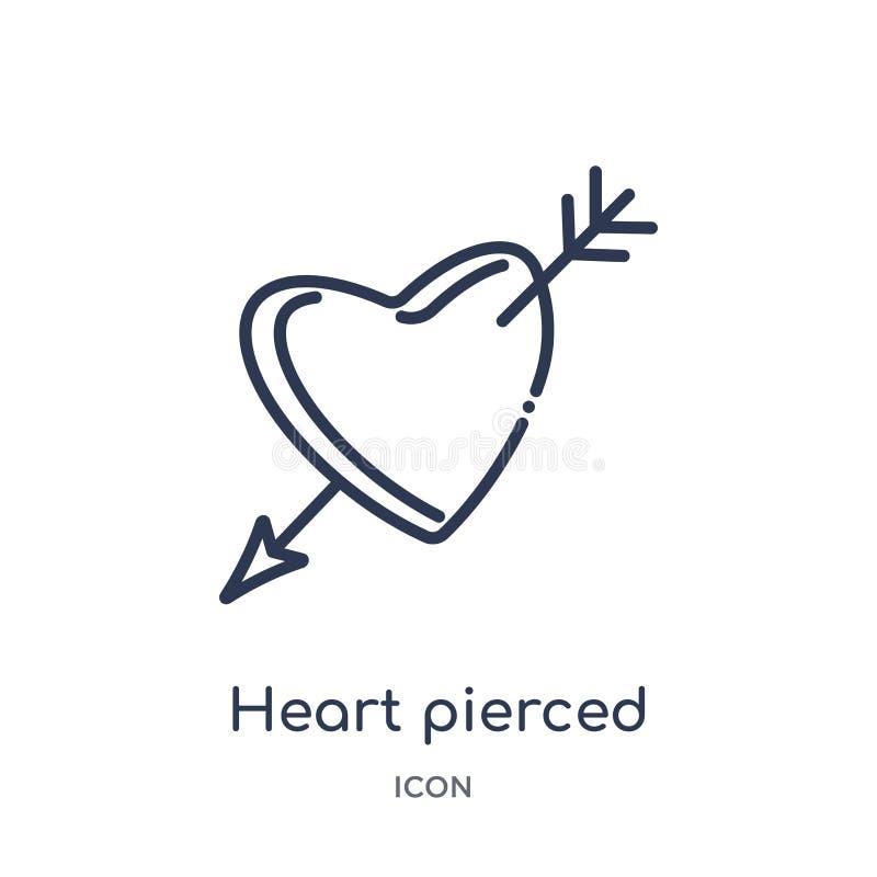 心脏由从形状概述汇集的一个箭头象刺穿了 稀薄的线箭头象刺穿的心脏隔绝在白色 库存例证