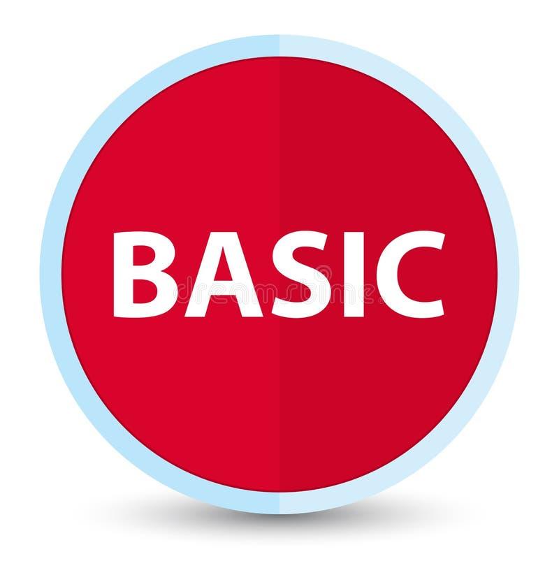 基本的平的头等红色圆的按钮 向量例证