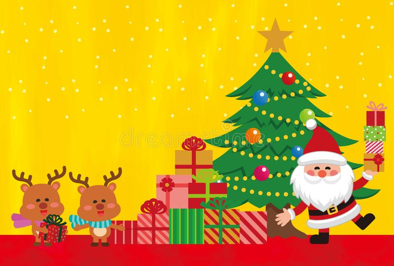 Christmas character elements of golden background. vector illustration