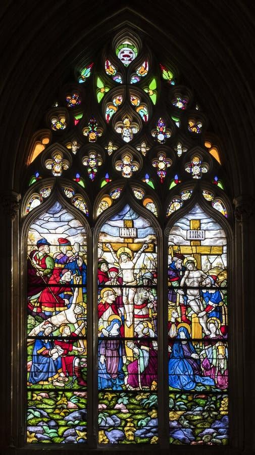 基督激情彩色玻璃 库存图片