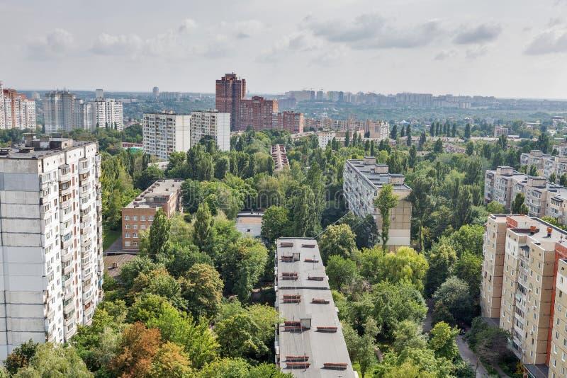 基辅从上面市地平线,街市都市风景,乌克兰的首都 库存照片