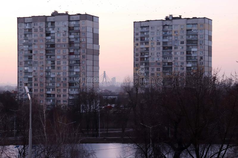 基辅美丽的英雄开始为晚上,2019年2月做准备 免版税库存图片