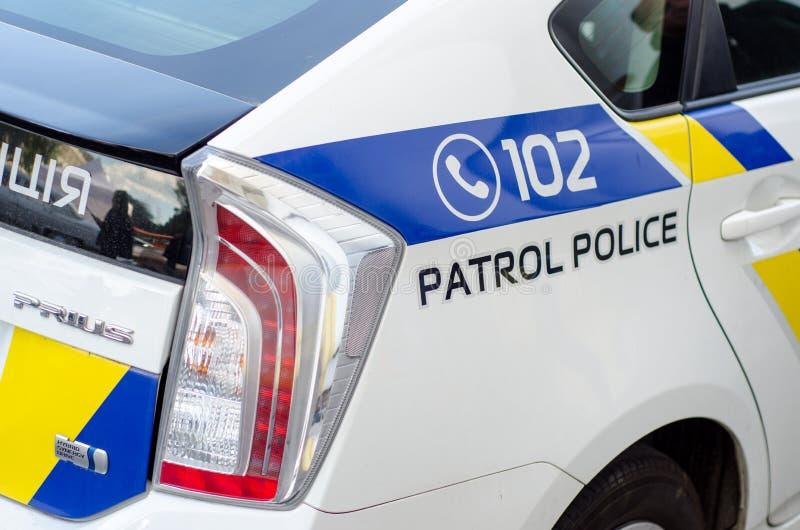 基辅,乌克兰- 2018年9月30日:乌克兰巡逻警察 丰田Prius 库存图片