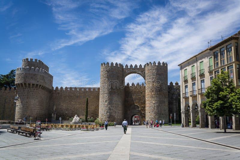 城堡门,阿维拉,卡斯蒂利亚y利昂,西班牙 图库摄影