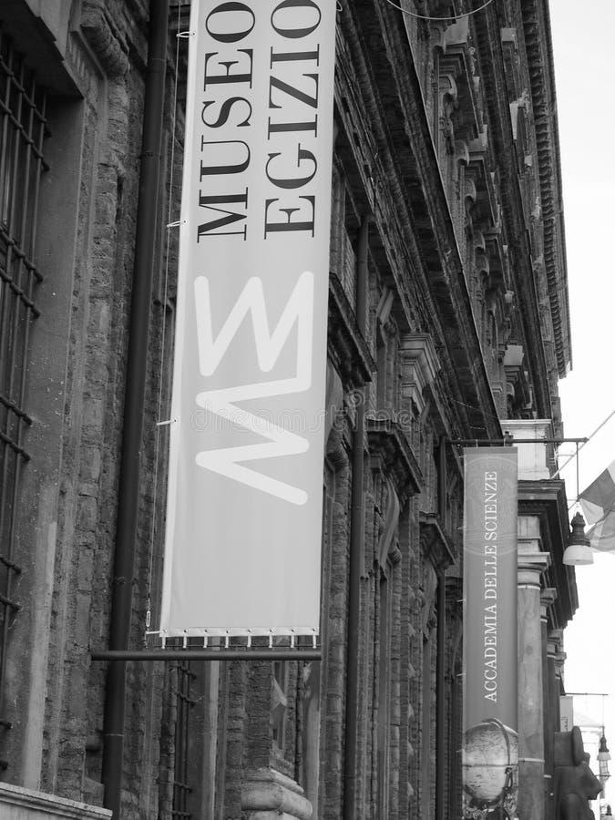 埃及博物馆(埃及博物馆)在黑白的都灵 免版税图库摄影