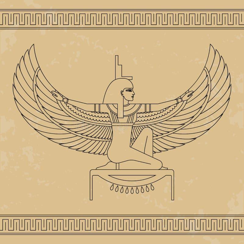 埃及女神Isis 美丽的埃及妇女的动画画象 皇族释放例证