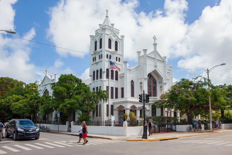 圣保罗的主教制度的教会在基韦斯特岛 免版税图库摄影