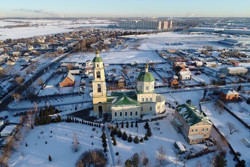 圣尼古拉斯教会在多莫杰多沃,莫斯科地区,俄罗斯 免版税库存图片