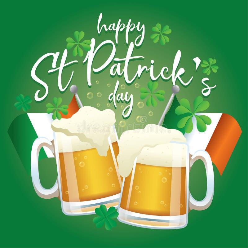 圣帕特里克的天庆祝设计用啤酒和爱尔兰旗子 库存例证