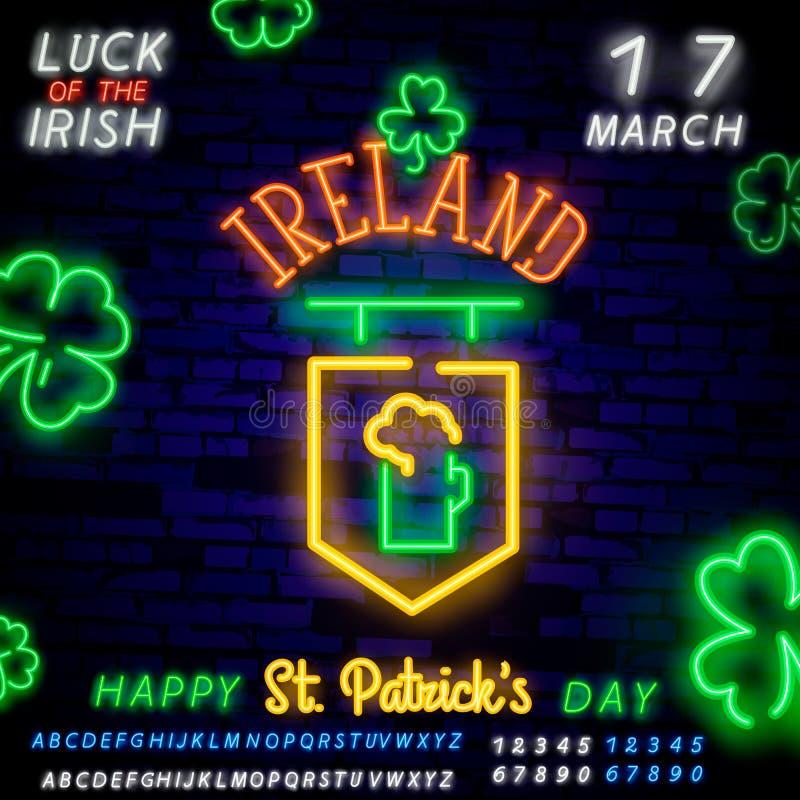 圣帕特里克的天象集合隔绝了 帕特里克的天霓虹灯广告 马掌,三叶草,彩虹,金币,啤酒,旗子爱尔兰和 皇族释放例证