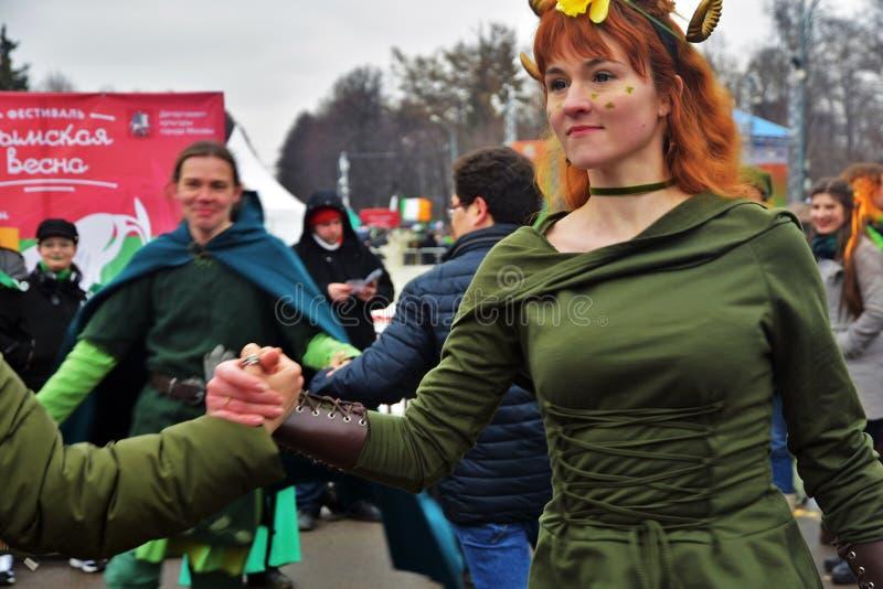 圣帕特里克` s天庆祝在莫斯科 库存照片