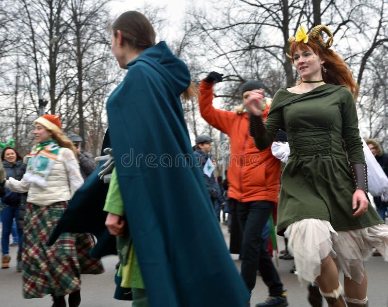 圣帕特里克` s天庆祝在莫斯科 图库摄影