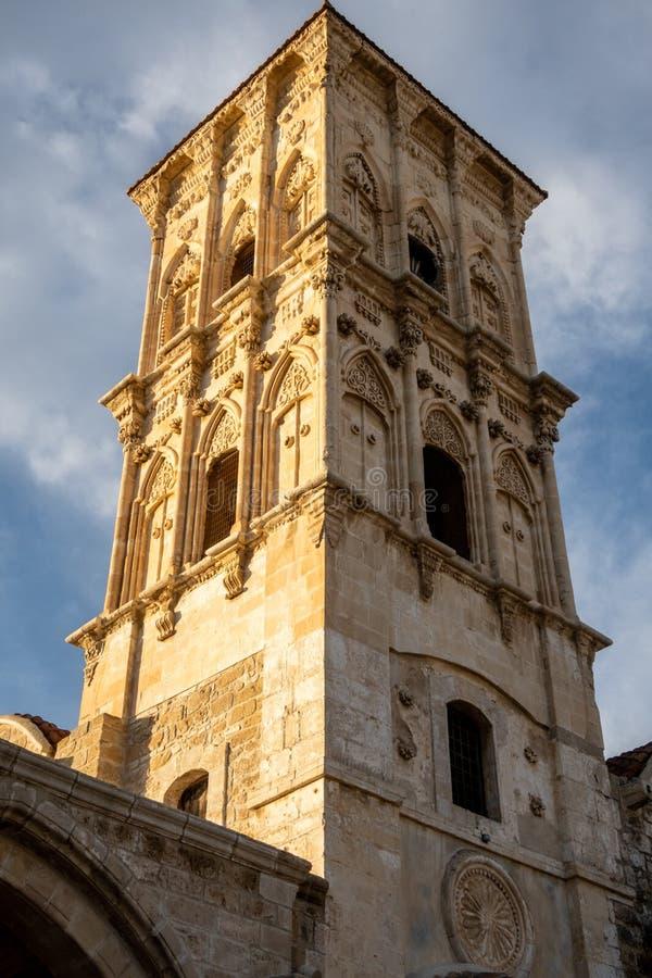 圣徒拉撒路,拉纳卡,塞浦路斯教会的塔  免版税库存图片