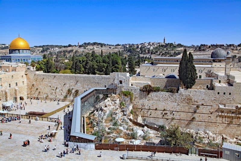 圣殿山和考古学挖掘在西部墙壁外 库存图片