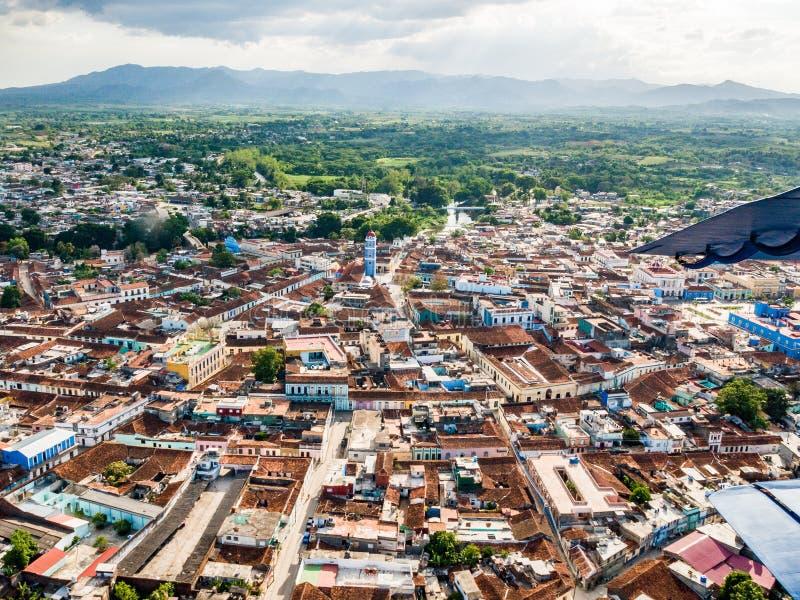 圣斯皮里图斯市,古巴鸟瞰图  免版税库存图片