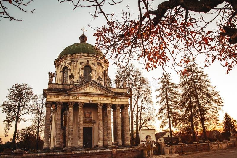 圣约瑟夫巴洛克式的天主教堂在Pidhirtsi Pidhirtsi村庄位于利沃夫州省,西乌克兰 图库摄影