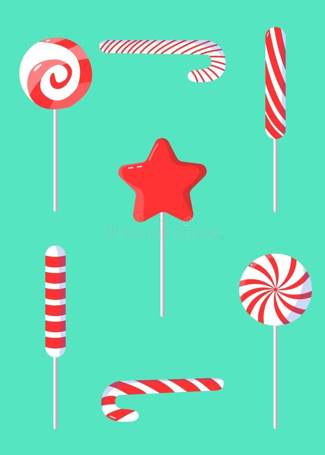 圣诞节套在现代平的设计的棒棒糖 库存例证