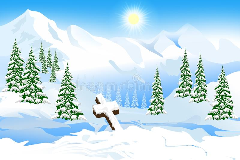 圣诞节在雪的风景十字架在与阳光的降雪以后 抽象向量例证 作为对墙纸的背景服务