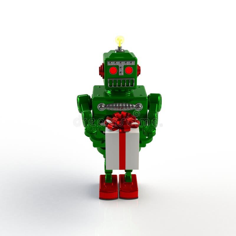 圣诞节和新年,拿着礼物盒3d例证的绿色减速火箭的机器人隔绝了 库存例证