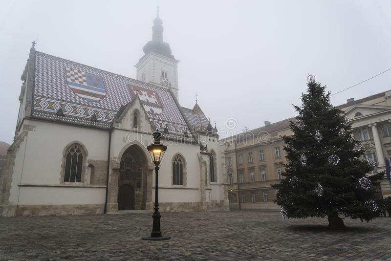 圣马克的教会在上部镇,萨格勒布,克罗地亚 免版税库存图片