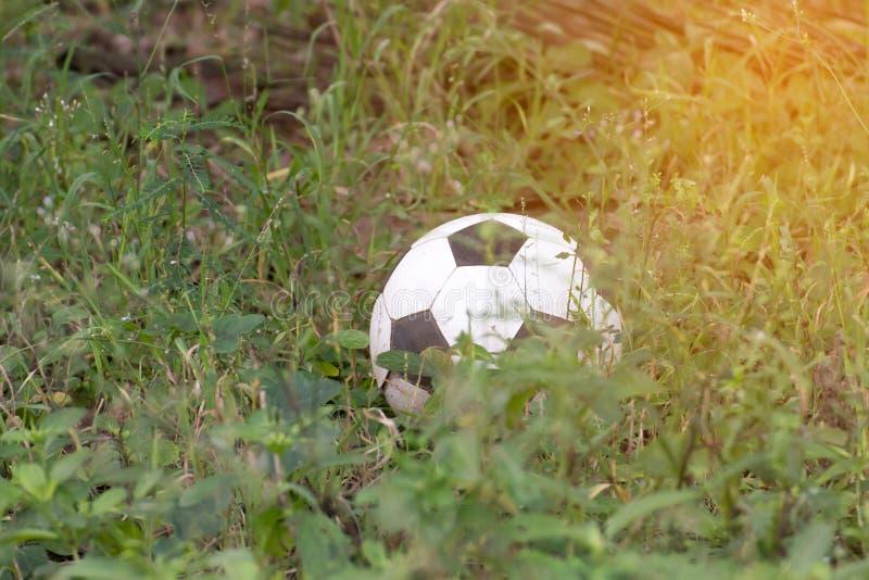 在不可利用fieldÂ的草的被放弃的老橄榄球或足球 免版税库存照片