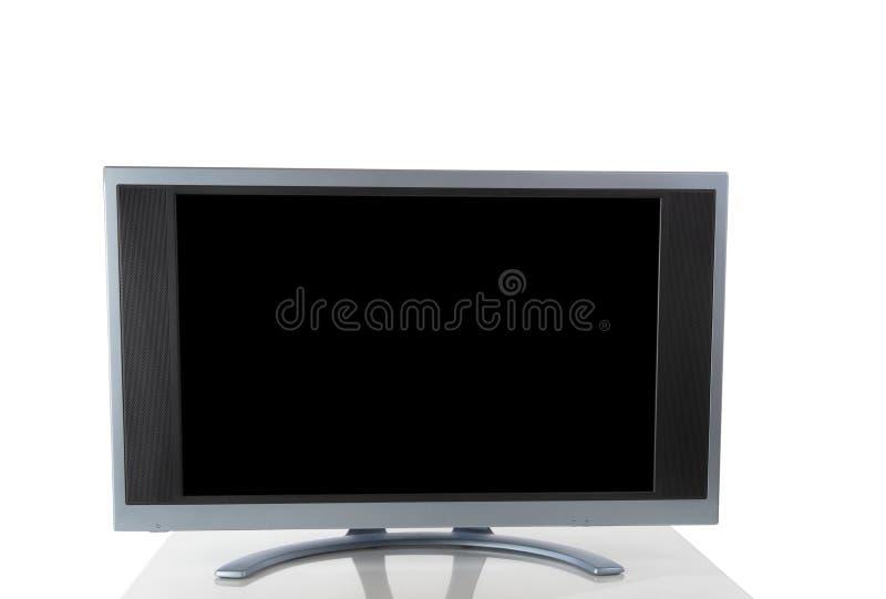 在与反射的白色背景隔绝的显示器显示器在桌上 库存图片