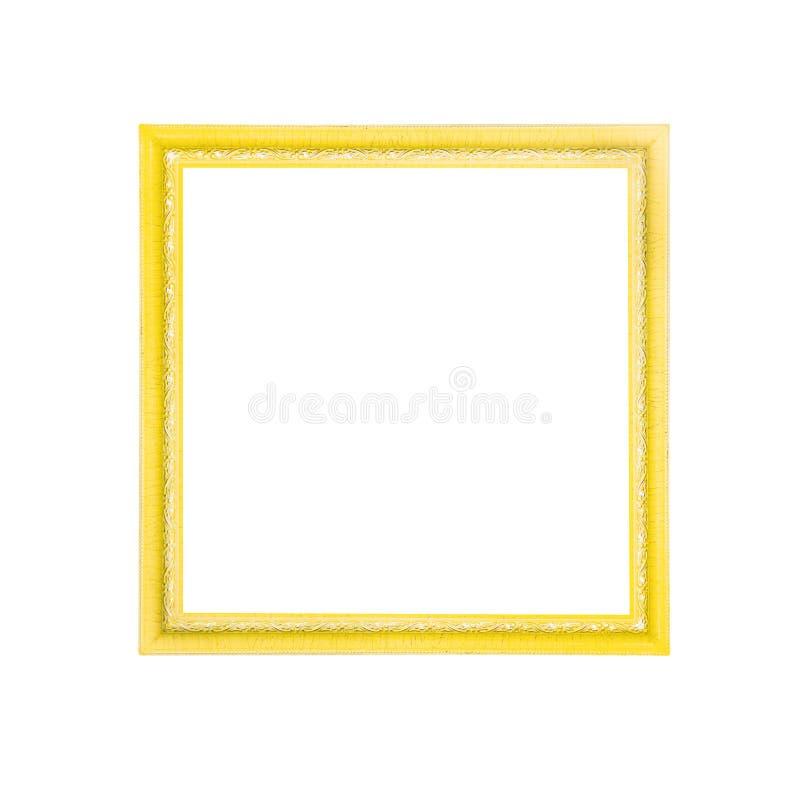 在与裁减路线的白色背景隔绝的明亮的黄色或金相框的样式 免版税库存照片