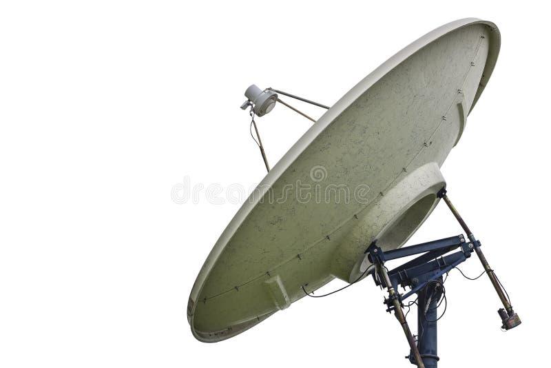 在与裁减路线的白色背景隔绝的高技术卫星盘 免版税库存照片