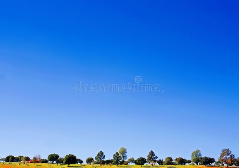 在一个小和狭窄的风景的大,清楚的天空蔚蓝在图象的底部 库存图片