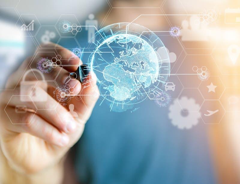 在一个未来派接口显示的国际企业网络连接与技术象和球形地球-全世界 库存图片