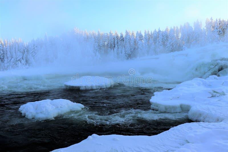 在一个美妙的冬天风景的Storforsen 库存图片