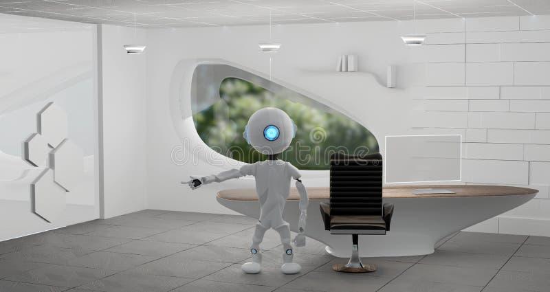 在一个现代室3d例证的机器人 向量例证