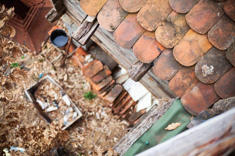 在一个老屋顶上 图库摄影