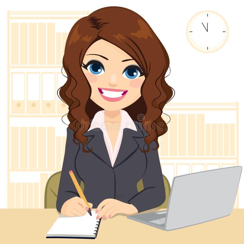 在书桌上的美女工作 向量例证
