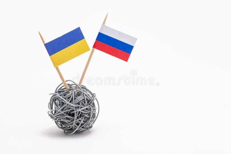 在乌克兰和俄罗斯之间的经济和精明冲突 图库摄影