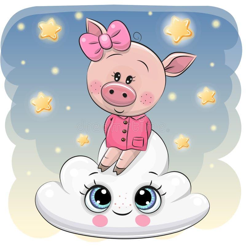 在云彩的逗人喜爱的猪a 向量例证