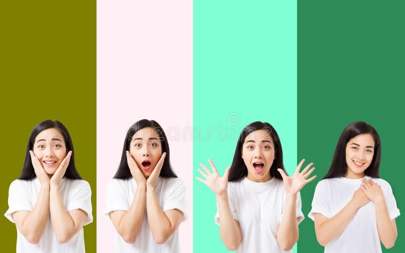 在五颜六色的背景隔绝的惊奇的震惊激动的亚洲妇女面孔拼贴画  夏天T恤杉的年轻亚裔女孩 复制 免版税库存照片