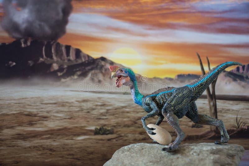 在侏罗纪土地的Oviraptor 向量例证