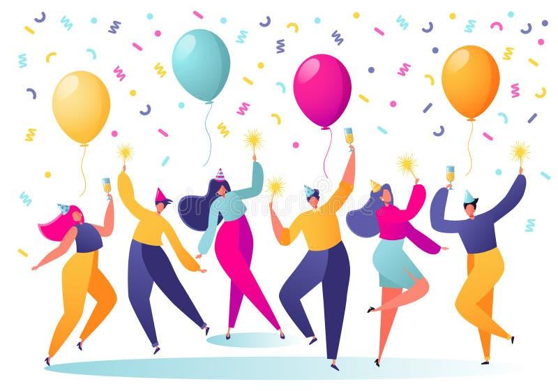在假日盖帽跳舞的男人和妇女字符,获得乐趣和有与五彩纸屑的在背景的多士和气球 人们o 皇族释放例证