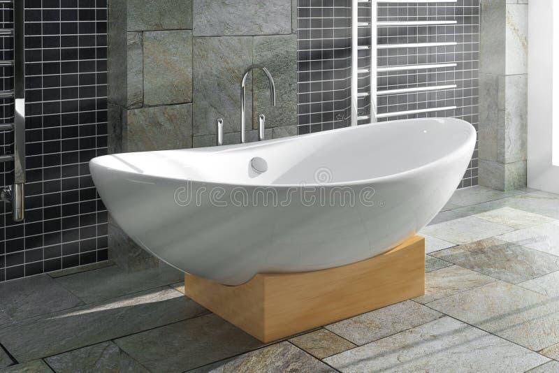 在卫生间内部的现代白色Bathtube 3d翻译 库存例证