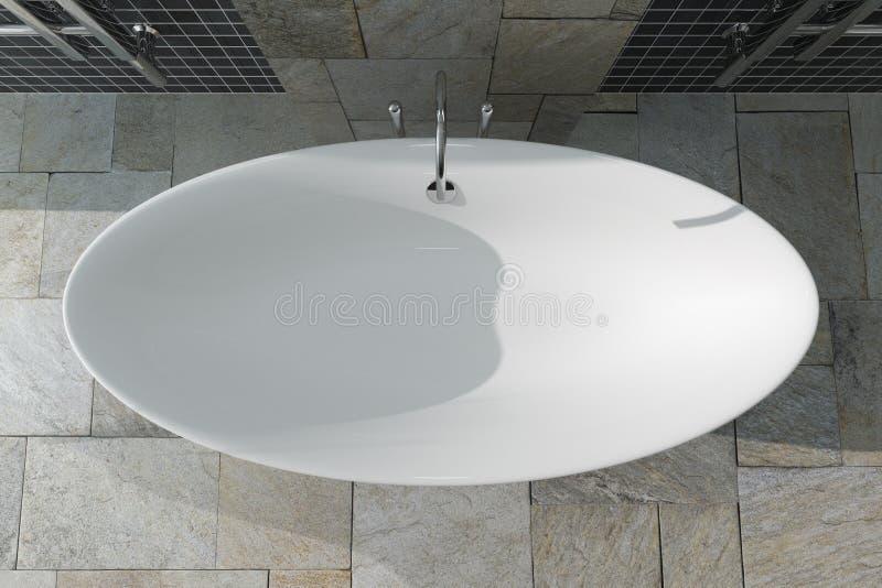 在卫生间内部顶视图的现代白色Bathtube 3d翻译 图库摄影