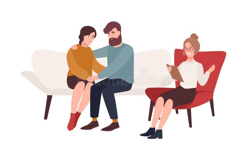 在坐在他们前面的长沙发的愉快的已婚夫妇和女性心理学家或者心理治疗家 解决的家庭 库存例证