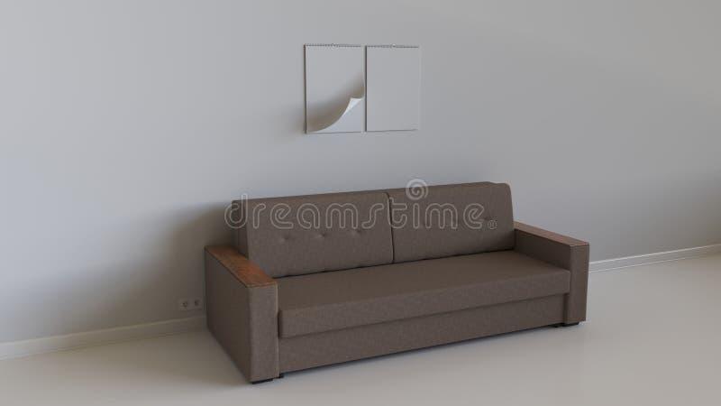 在墙壁上的两本空白的螺旋日历在沙发上 库存例证